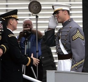 Caleb Campbell receives his diploma at his graduation from West Point. (AP photo)