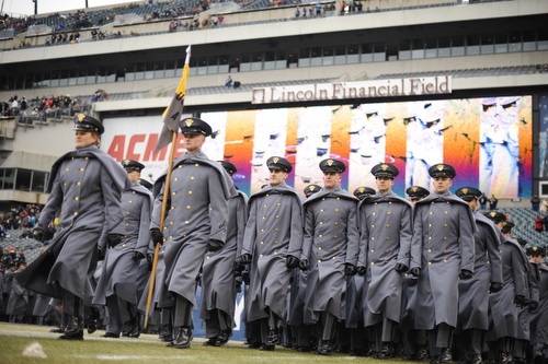 Cadets from the U.S. Military Academy march on the field before the 114th Army-Navy football game at Lincoln Financial Field in Philadelphia, Pa., on Saturday, December 14, 2013. (Mike Morones/Staff)