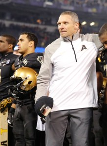 Army West Point head coach Jeff Monken will lead the Black Knights into Happy Valley to face Penn State in October, and troops and their families can attend for free. (Staff photo by Mike Morones)