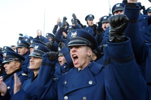 Air Force Academy cadets celebrate a 20-3 home win over Army on Saturday. (USA Today Sports photo by Chris Humphreys)