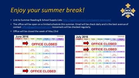 2016 summer hours