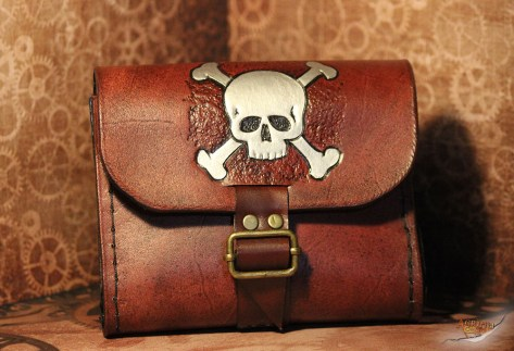 Crossbones Leather Belt Bag