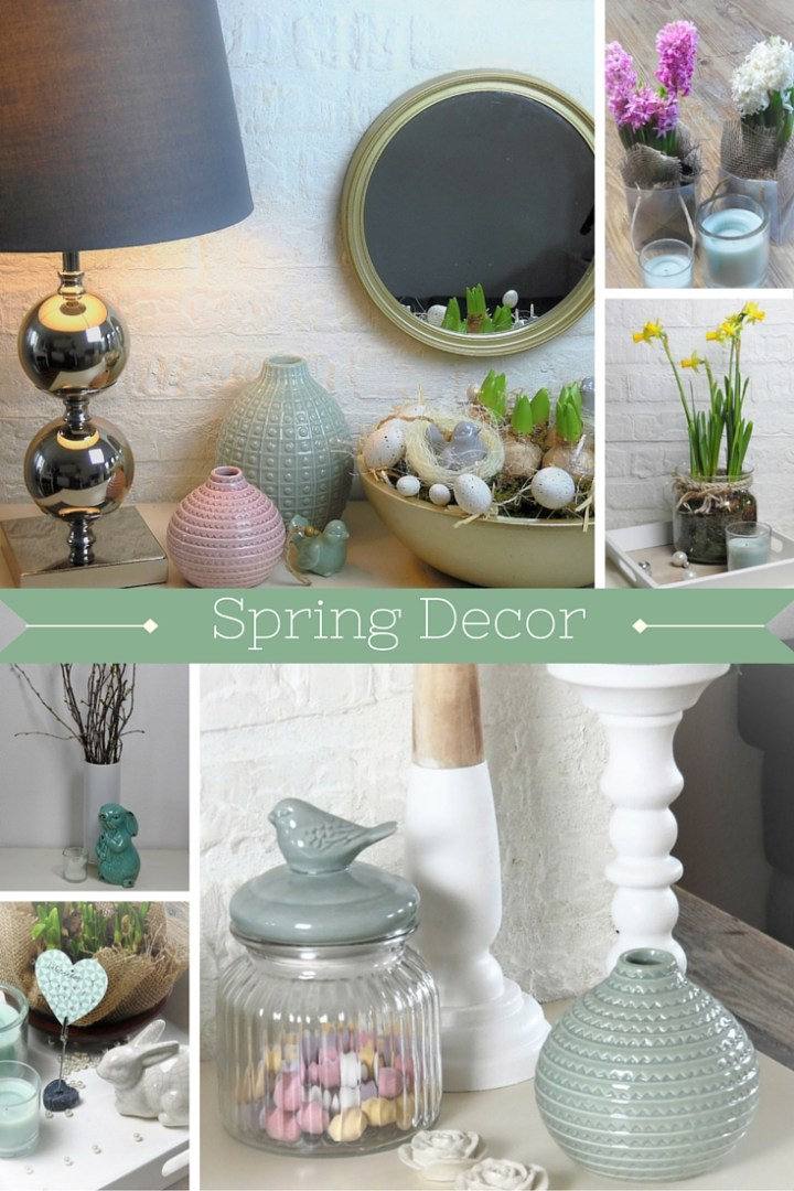 Collage showing pastel spring home decor accents