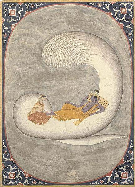 Vishnu resting on Ananta-Sesha, with Lakshmi massaging His feet. 17th century