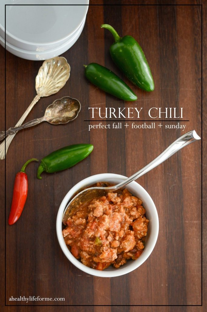 "Turkey [Chili|http://ahealthylifeforme.com/jalapeno-cheddar-biscuits/"" title=""Jalapeño Cheddar Biscuits]"