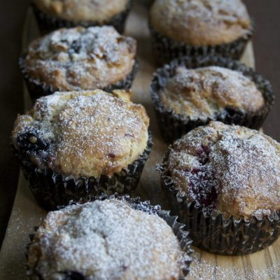 Mixed Berry and White Chocolate Chip Muffins