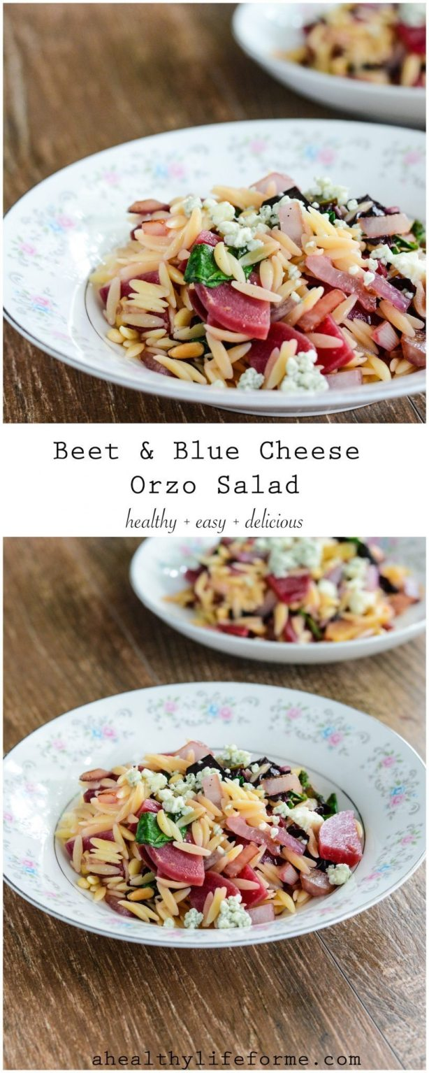 Beet and Blue Cheese Orzo Salad is a light, healthy and delicious ...