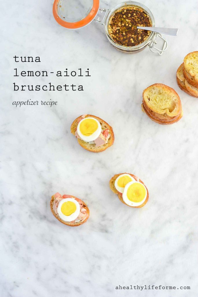 Tuna Lemon Aioli Bruschetta Recipe | ahealthylifeforme.com