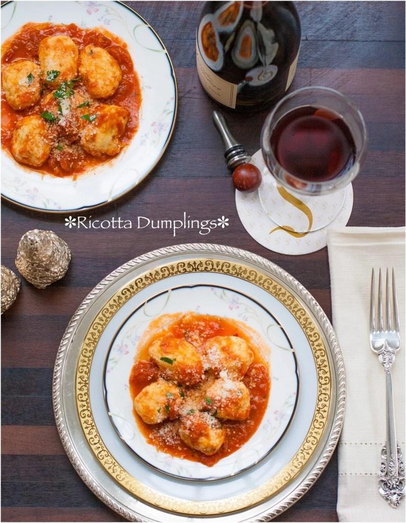 Ricotta Dumplings with Vodka Marinara Sauce