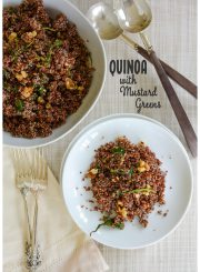 Quinoa with steamed mustard greens copy