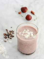 Cherry Coconut Chocolate Smoothie is a sweet healthy decadent smoothie that tastes like a cherry milkshake. Perfect for after your workout or mid day pick me up. It is Gluten Free, Dairy Free, Paleo Frinedly.