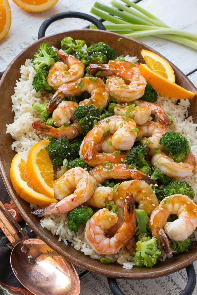 Orange Shrimp and Broccoli with Garlic Sesame Fried Rice via Dinner at ...