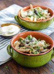 Roasted Eggplant and Onions tossed with Whole Wheat Pasta Goat Cheese and Italian Herbs | ahealthylifeforme.com