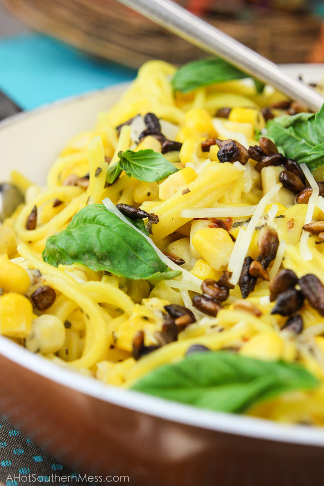 Spicy Sweet Corn Sunflower Pasta (with Basil Goat Cheese Sauce) | A ...
