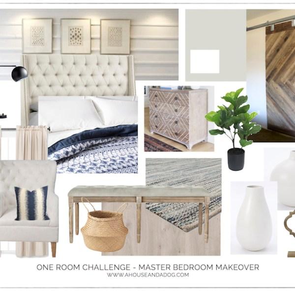 One Room Challenge - Master Bedroom Makeover Design Plan | ahouseandadog.com