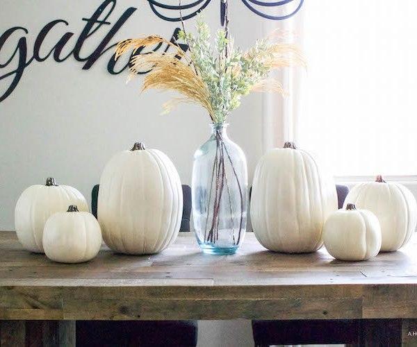 Simple Fall Tablescape - white pumpkins & wheat stems | ahouseandadog.com