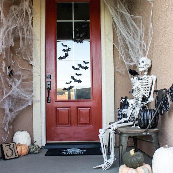 Simple & Spooky Halloween Porch - Skeletons & Bats | ahouseandadog.com