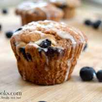 Banana Blueberry Muffins with vanilla glaze | http://aileencooks.com
