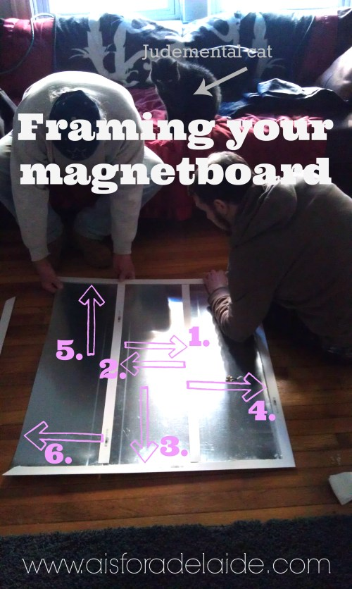 #Magnetboard How-to #AisForAdelaide #DIY Framing... and a Judgemental Cat
