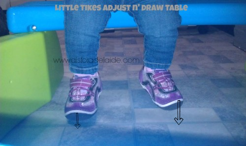 #aisforadelaide #littletikes #adjustndrawtable Feet don't touch #LP #dwarfism #achondroplasia