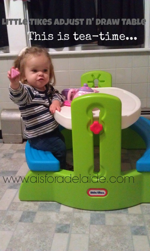#aisforadelaide #littletikes #adjustndrawtable #LP #dwarfism #achondroplasia Tea time!