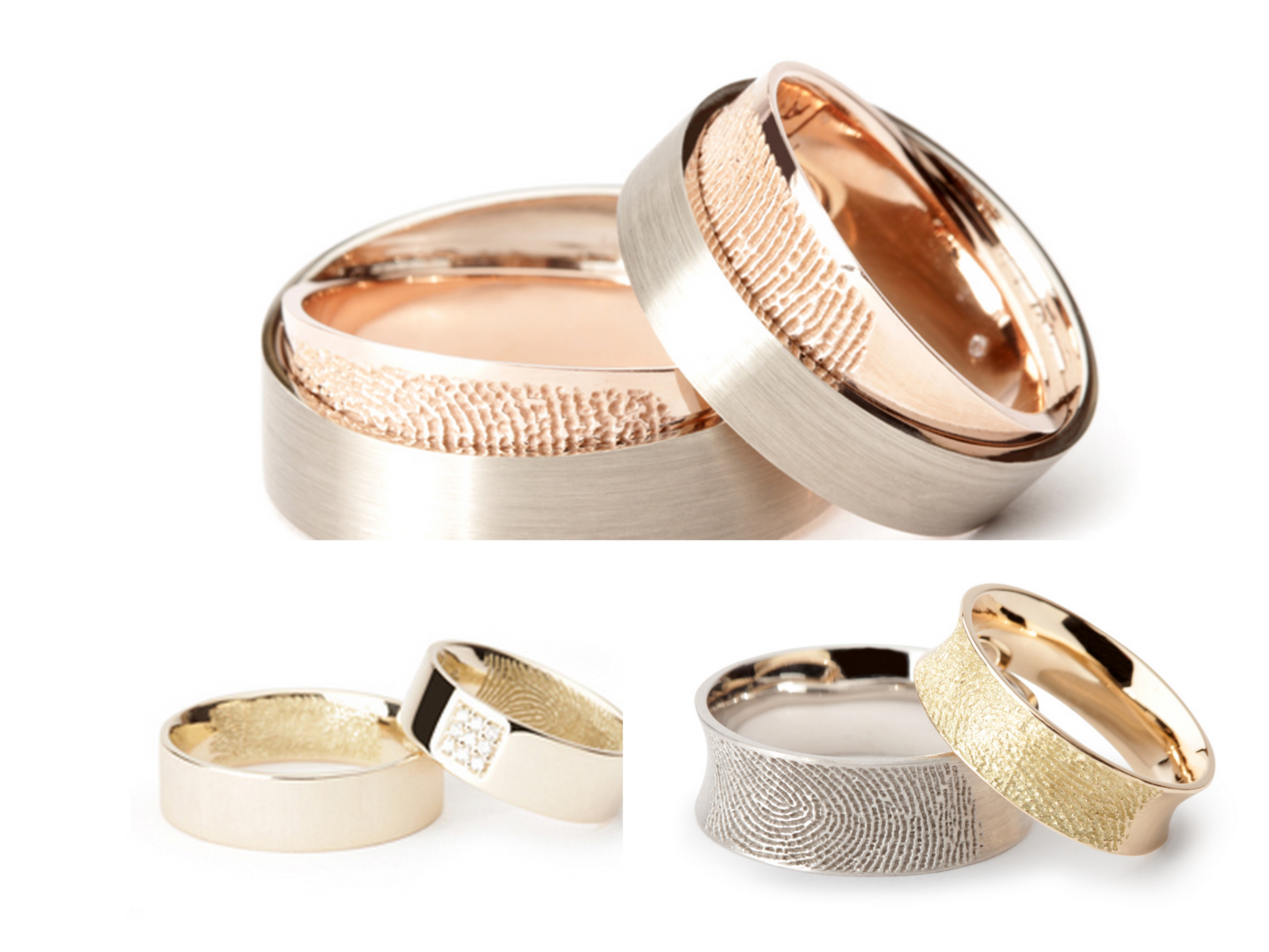 the rings please fingerprint wedding band The ring at the top the rose gold section slides out so the fingerprint is like a secret