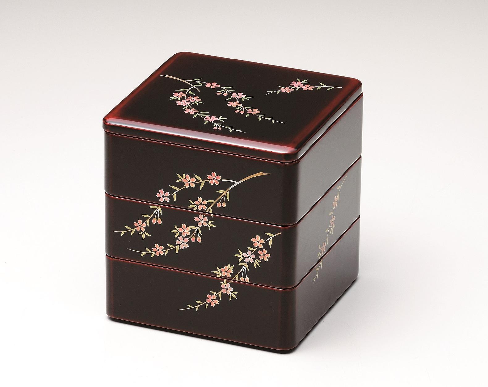 会津塗三段重 桜花