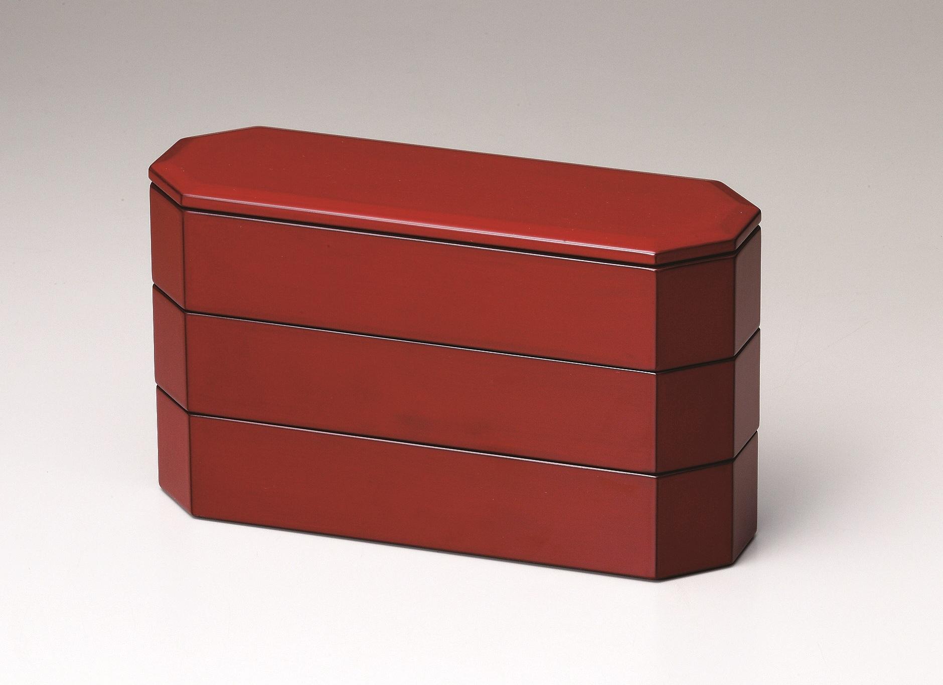 会津漆器三段重箱 亀甲