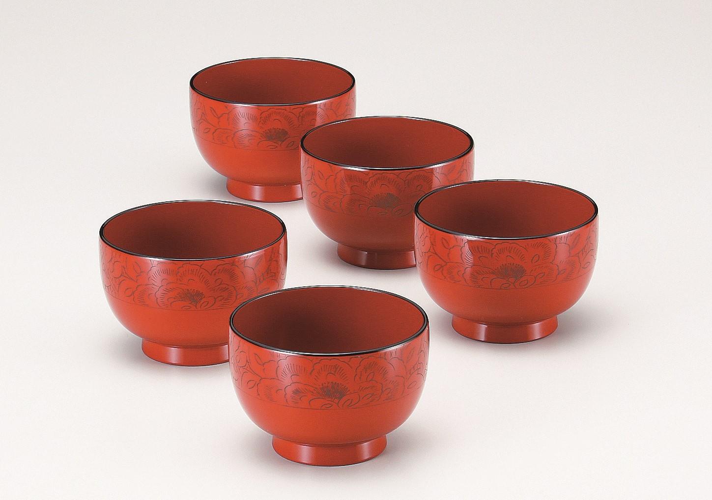 会津塗 汁椀セット 牡丹彫