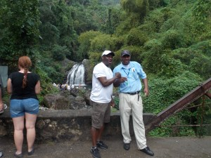 Maxie of AJE & tour guide Vinny at Blue Mountain Fish-Don Water Falls during Bicycle Tour
