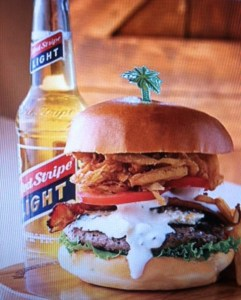 Red Stripe Light with Burger Pic. Courtesy of Margaritaville