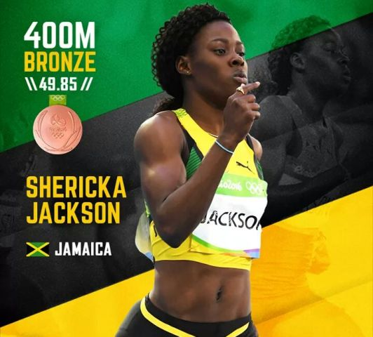 Shericka Jackson and her 400m Bronze medal