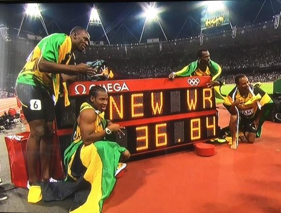 Usain Bolt, Yohan Blake, Nickel Ashmere and Asafa Powell World Record Relay Team