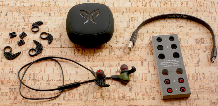 The upgraded Jaybird X2 feature two kinds of earbuds in the box - silicone tips and Comply memory foam tips. There's a whole lot of stuff in the box! Jaybird X2 review