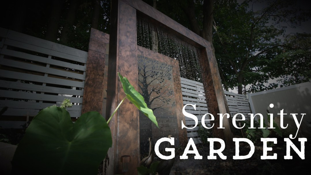 A Serenity Garden with a Gorgeous Rain Wall Water Feature