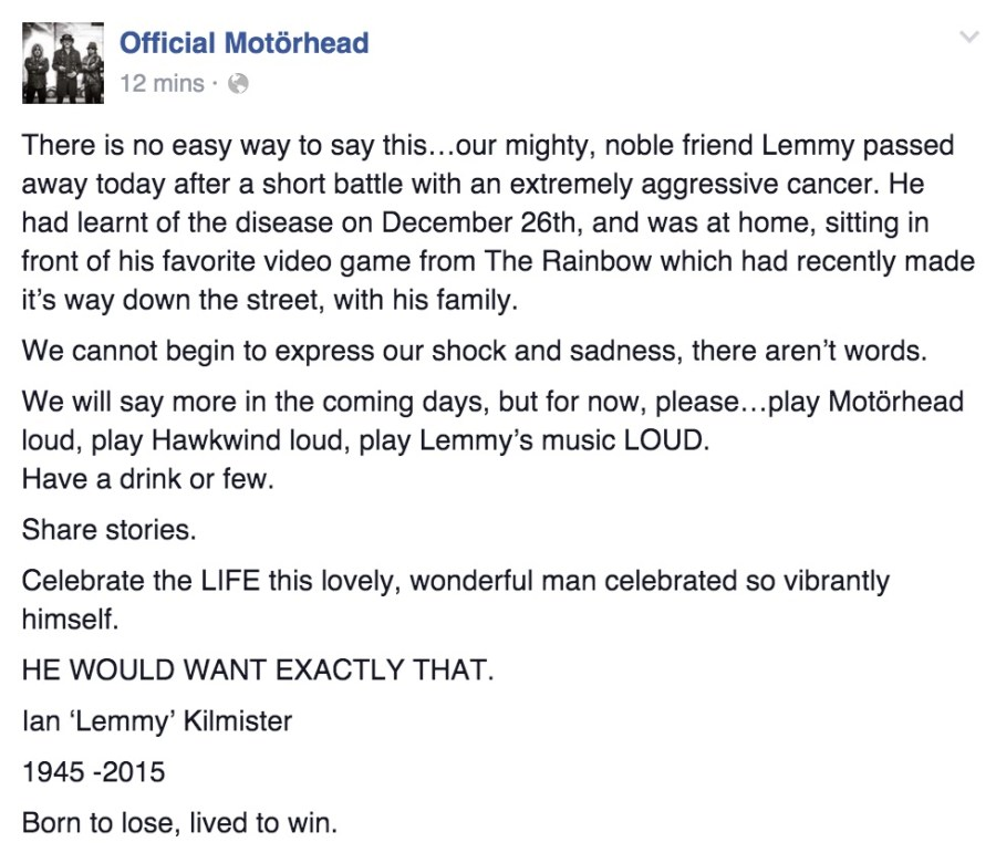 Motorhead Facebook copy