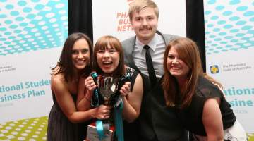 Chanelle Rolls, Lauren Haworth, Mark Jones and Jenna Leighton win the National Pharmacy Business Plan Competition
