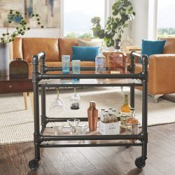 Metropolitan Dark Bronze Metal Pipe Mobile Bar Cart With Wood