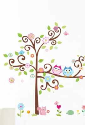 1-X-Colorful-Flower-And-Owls-On-The-Tree-Cartoon-Wall-Decor-Sticker-Removable-Decals-For-Kids-Room-Decoration-For-Living-Room-0