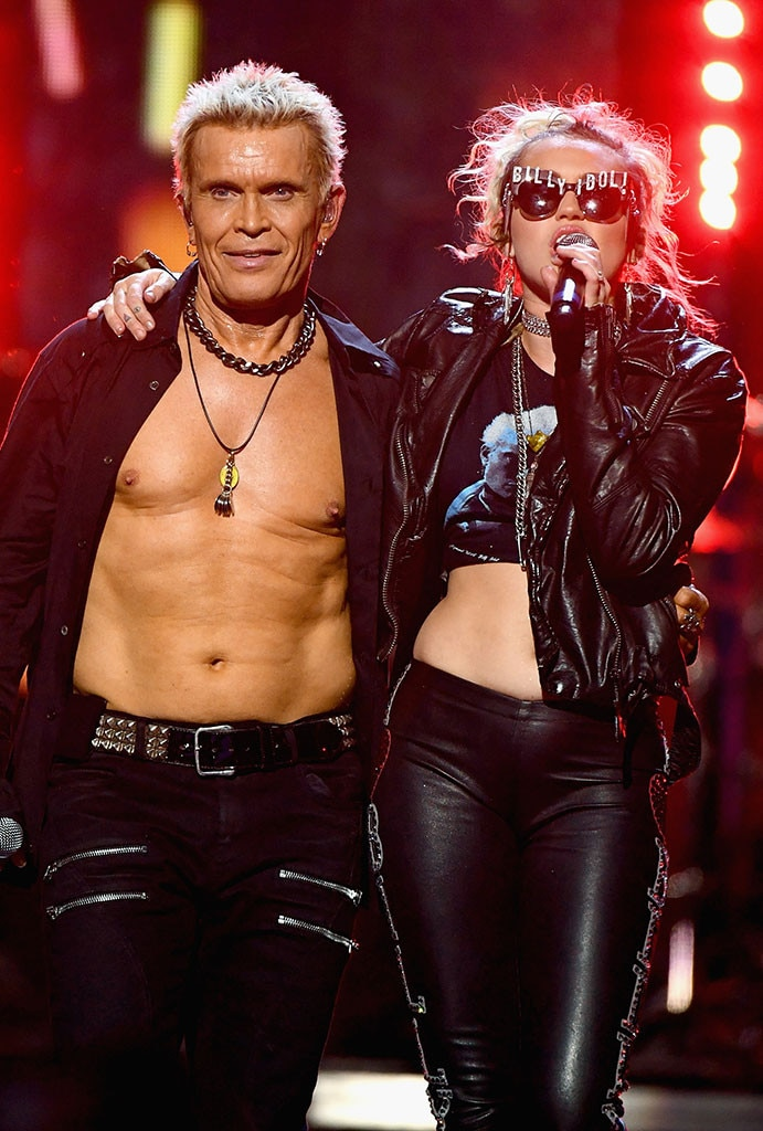 Miley Cyrus Joins Billy Idol Onstage at iHeartRadio Music Festival     Miley Cyrus  Billy Idol