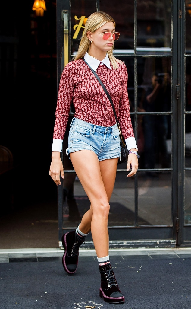 Hailey Baldwin Makes Jean Shorts Back to School Ready   E  News ESC  Jean Shorts  Hailey Baldwin