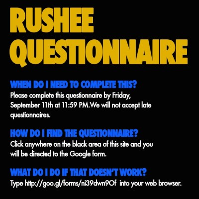 Rushee Questionnaire Tab