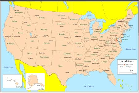 map of usa states and capitals | northcountrylittles