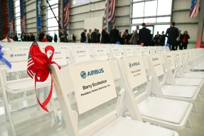 The grand opening ceremony of Airbus U.S. Manufacturing Facility is held Monday, Sept. 14, 2015, in Mobile, Ala. (Mike Kittrell/Alabama NewsCenter)
