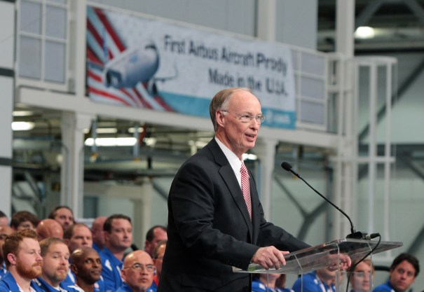 Alabama Gov. Robert Bentley makes remarks during he grand opening ceremony of Airbus U.S. Manufacturing Facility on Monday, Sept. 14, 2015, in Mobile, Ala. (Mike Kittrell/Alabama NewsCenter)