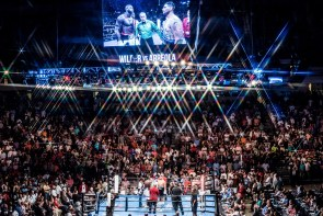 An announced crowd of 11,974 in Legacy Arena at the Birmingham-Jefferson Convention Complex watched Deontay Wilder retain the title. (Nik Layman/Alabama NewsCenter)