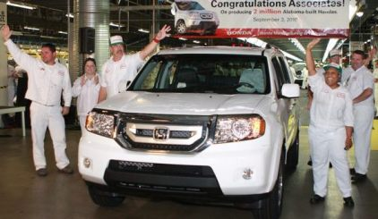 Honda's Alabama workers celebrate the 2 millionth vehicle produced at the Lincoln plant on Sept. 3, 2010. (Honda)