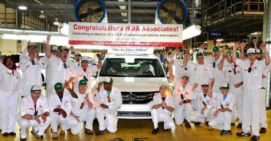 The 3 millionth Alabama-made Honda rolls off the assembly line in Lincoln on Dec. 5, 2013. (Honda)