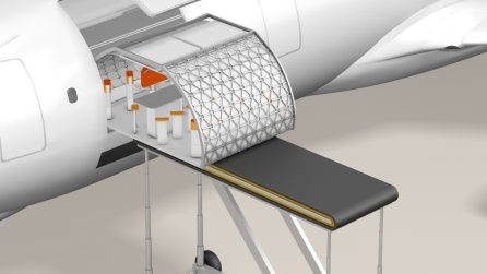 Conceptual modular experience being loaded onto a Transpose-enabled aircraft. (A3)