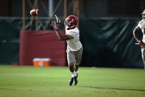 Wide receiver Calvin Ridley at practice Tuesday. (Kent Gidley/UA Athletics)
